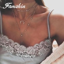 FAMSHIN Bohemian Rhinestone Moon Pendant Multilayer Choker Necklaces For Women Handmade Statement Necklace Collier Femme Jewelry(China)