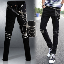 Узкие Джинсы Мужчины Хип-хоп стиль черный мужской джинсы загрузки вырезать slim fit inculde пояса и цепи размер 28-34 Джастин Бибер одежда