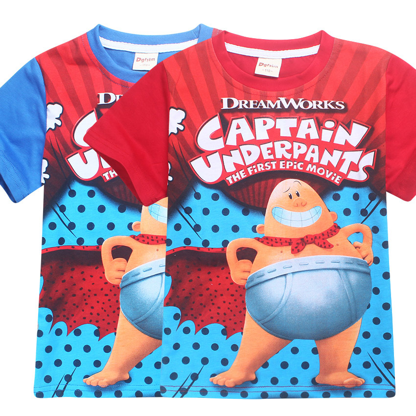 Boys Shirts Cap-Tain Underpants Girls Tee Shirt Youth Short Sleeve Teenager Youth T-Shirts Top