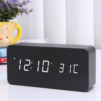 LED Digital Alarm Clock Wooden Wireless Charging Charger Thermometer Voice Control 2018ing
