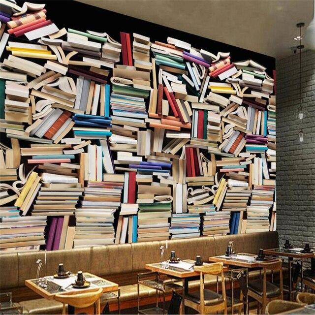 Beibehang Nach 3d Tapete Europäischen Retro Farbe Bücherregal