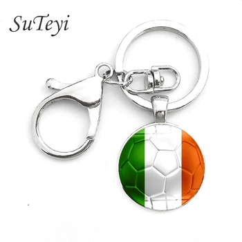 Charms Football Mens Key Chain Ireland/Estonia/Andorra Flag Glass Cabochon Key Ring Soccer Souvenir Mens Keychain Gift Jewelry image
