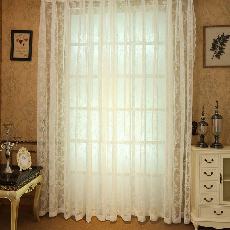 Crocheted Lace Curtains Pastoral Flower Pattern Window Valance Sheer