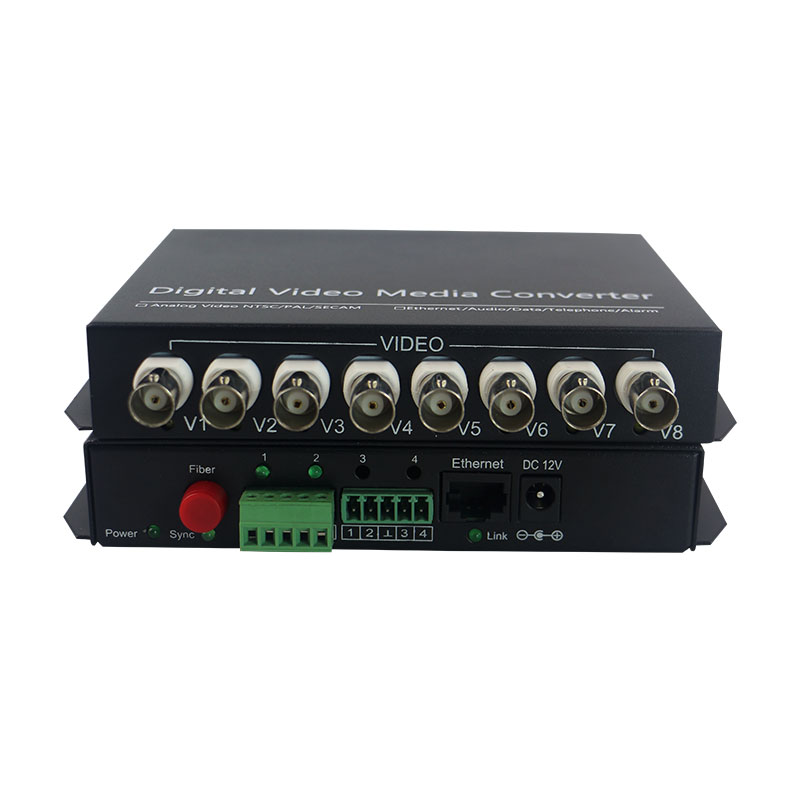 8 channel Fiber Optic Video Ethernet Data Multiplexer BNC Media Converter