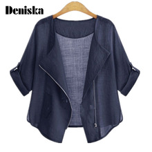 DENISKA 2017 Summer Fashion Plus Size Clothing Cardigans Casual Female Blouses and Shirts for Women Sun
