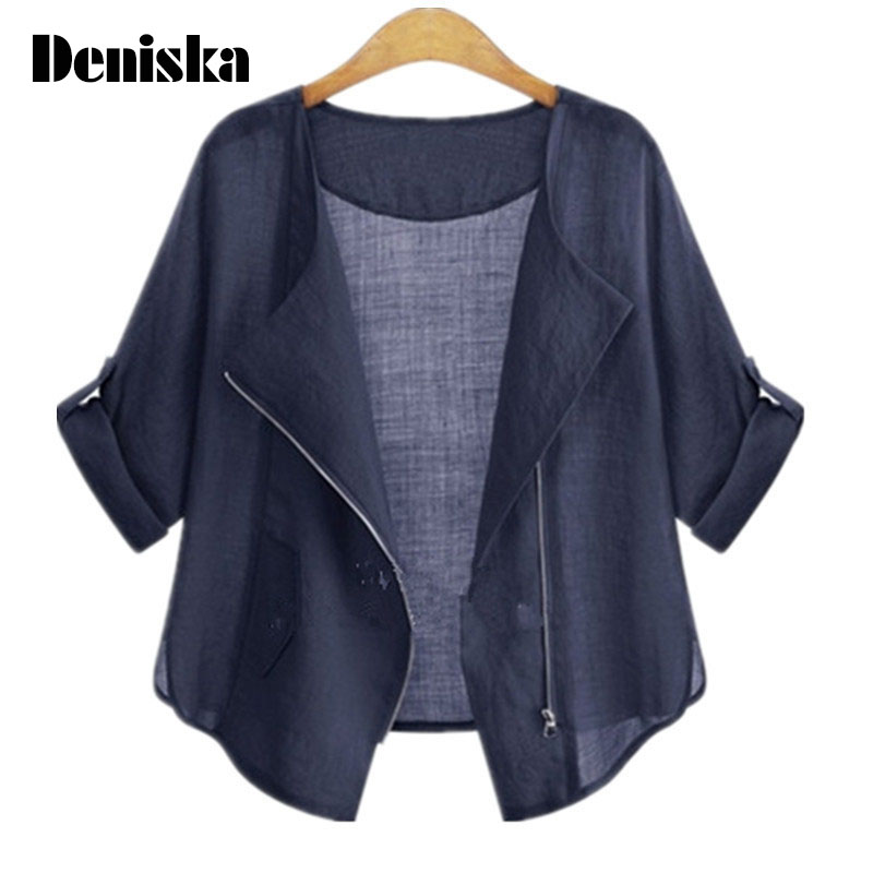 DENISKA font b 2017 b font Summer Fashion Plus Size Clothing Cardigans Casual font b Female