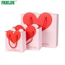 FANLUS วาเลนไทน์สีชมพูสีแดงกระดาษถุงของขวัญ / วาเลนไทน์เดย์ปาร์ตี้ซัพพลาย / กระดาษห่อของขวัญ / กล่องกระดาษหัวใจ
