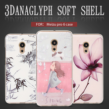 QBQB For Meizu Professional 6 case New type 3D Stereo Reduction Portray Smooth Silicon Again Cowl Colourful Cartoon FLOWER character case
