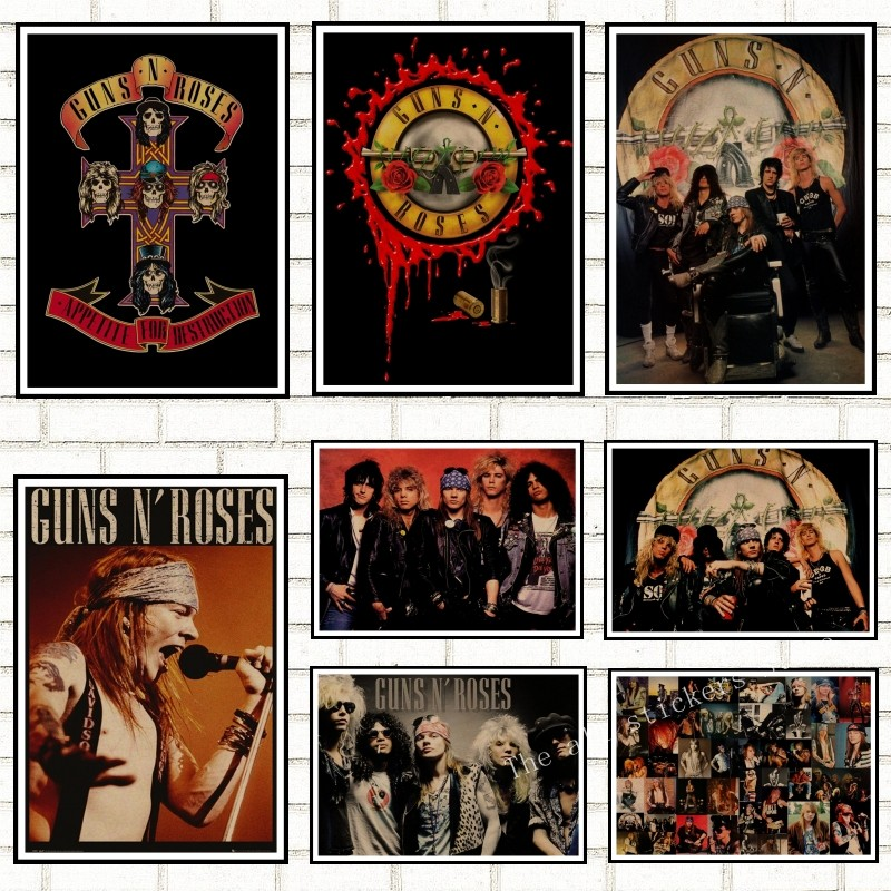 Постеры Guns N Roses Rock Music, винтажный постер, ретро Наклейка на стену, домашний декор, постер из крафт-бумаги/кафе/бара/ретро постер/908