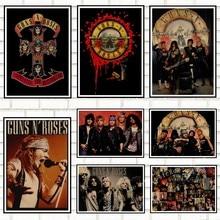 Carteles de música Rock Guns N Roses, póster Vintage, pegatina Retro para pared, decoración del hogar, papel Kraft, café, póster para Bar, póster Retro, 908
