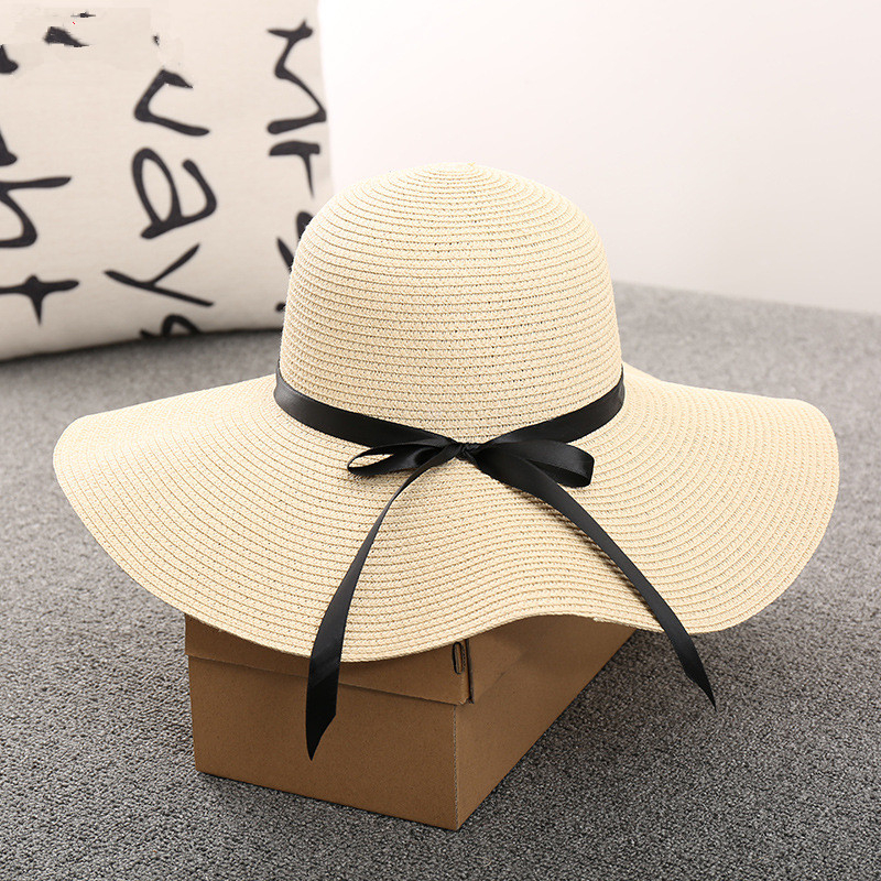 Big Brim Women Summer Hat 2019 Black Gold White Beige Casual Adult Sun Hats Cap Straw Beach Visor Sun Hats for Women