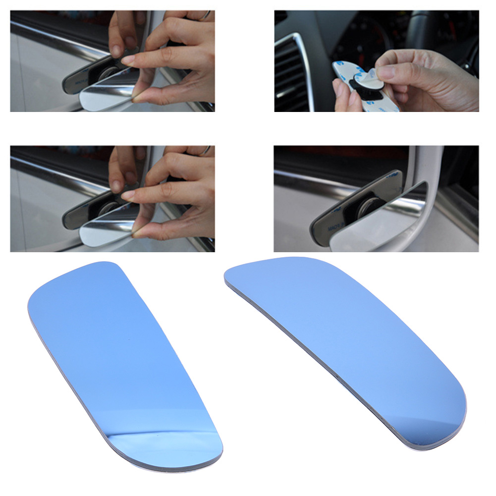 2 Pieces Frameless Car Blind Spot Rearview Mirror with 360 Degree Adjustable Wide Angle Convex for Car Parking
