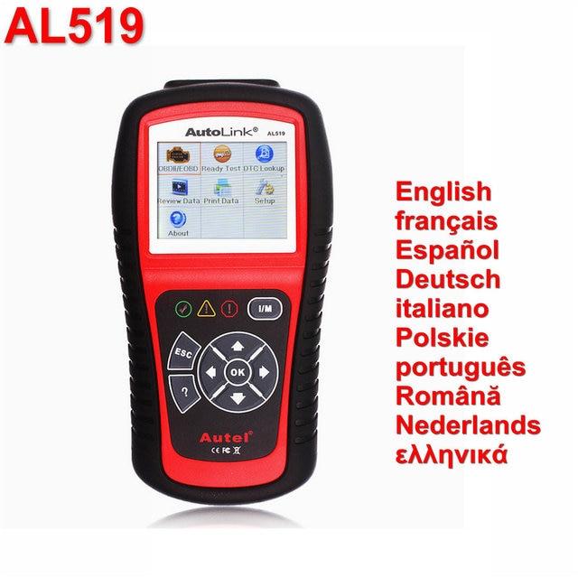 Autel AutoLink AL519 OBDII/CAN Automotive Scanner OBD II OBD2 EOBD Car Engine Fault Code Reader Dutch Portuguese Auto Scan Tool