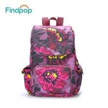 Findpop Цветочные Печать Рюкзак Женщины Мода 2017 г. рюкзак большой емкости Водонепроницаемые сумки школьный рюкзак для подростка