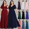 Plus Size Evening Dresses Ever Pretty EP09890 Elegant V-Neck Ruffles Chiffon Formal Evening Gown Party Dress Robe De Soiree 2019 1