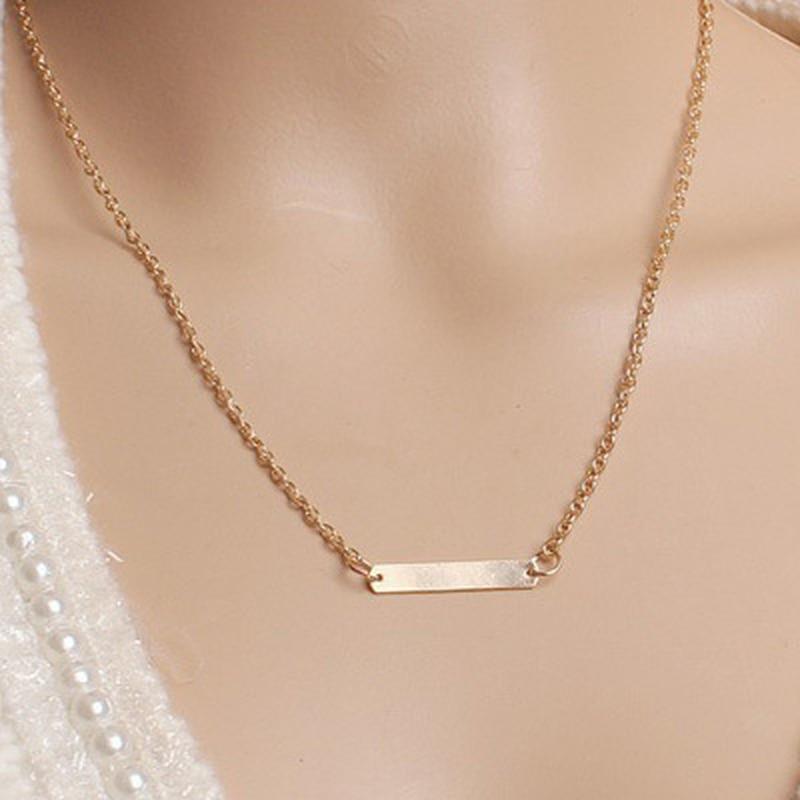 Europeu e americano folha de jóias clavícula corrente marca temperamento personalidade moda simples círculo barra colar mulher