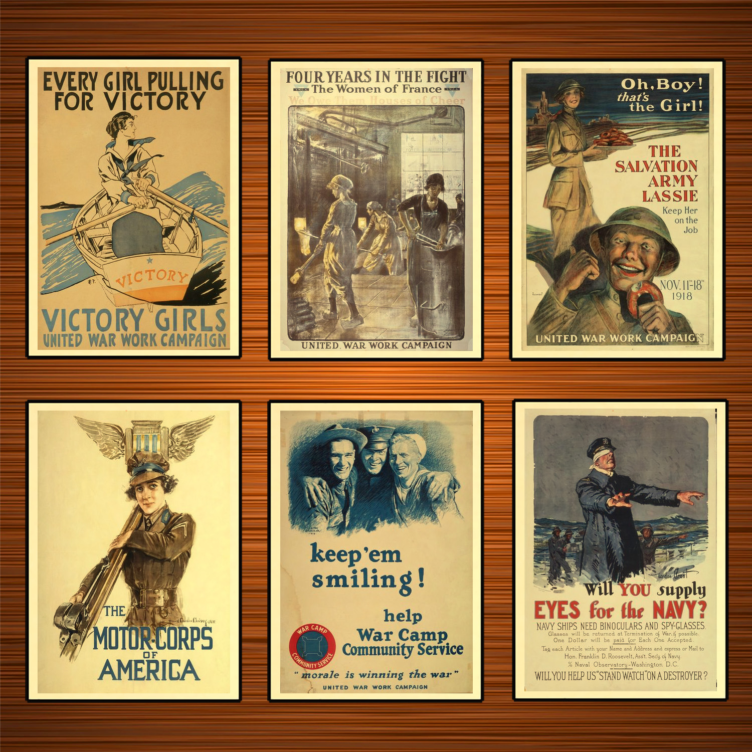Vintage 1910s USA WW1 Propaganda Poster IMotor Corps of America Classic Canvas Paintings Wall Stickers Home Decor Gift image