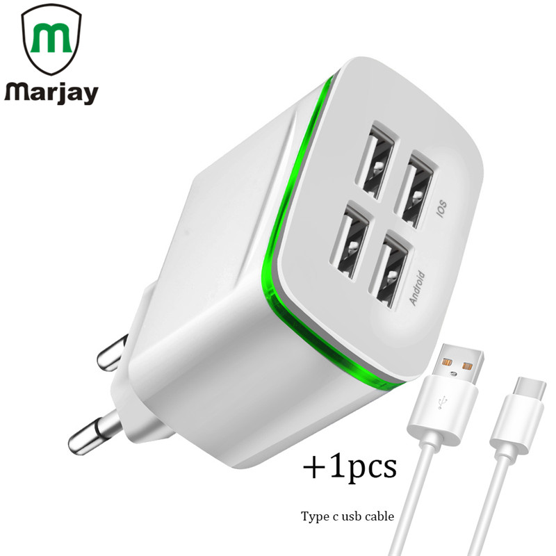 EU Plug 4 Ports LED Light USB Charger Fast Wall Adapter Mobile Phone Micro Data Charging For iPhone Samsung Galaxy S8/S8+/Note8