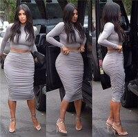 Kim Kardashian Sexy Two Piece Outfits Dress Bodycon Bandage Club Dress Fashion Clubwear Party Celebrity Cotton