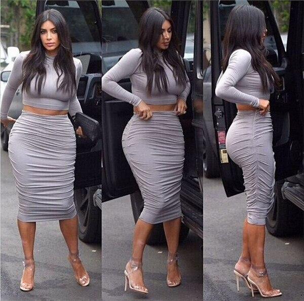 Kim Kardashian Sexy Two Piece Outfits Dress Bodycon -3406