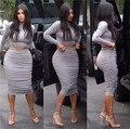 Kim Kardashian Sexy vestido de dos piezas trajes Bodycon del vendaje del Club Clubwear moda vestido de partido de la celebridad vestidos algodón