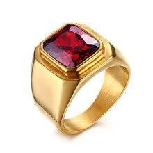 Suohuan nueva moda imitado piedra granate de la joyería masculina hombre estupendo rojo pulido de acero titanium con el oro plateado anillo de los hombres regalos