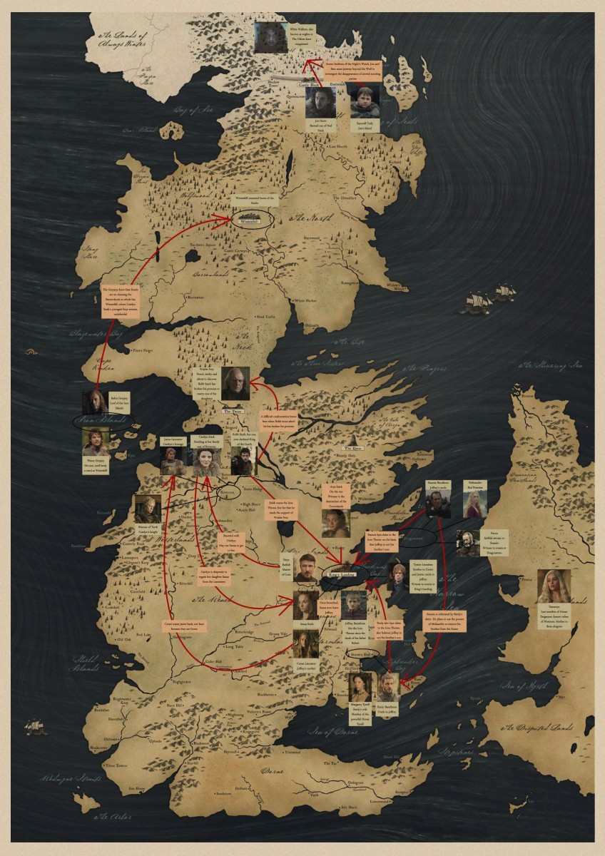 Game of Thrones Posters Antique World Map of Westeros Essos HBO ...