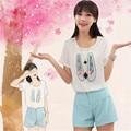 Sistema de dos piezas 2016 venta caliente impresión Fina fresca Encantadora Del Estudiante camisa de gasa 2 unidades set mujeres cortos harajuku mujeres de la camiseta