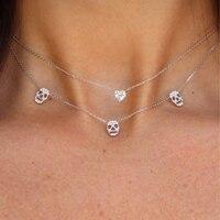 Ожерелье с черепом женское Стерлинговое Серебро 925 в западном стиле Двухслойное серебряное ожерелье с цепочкой золото и белый цвет