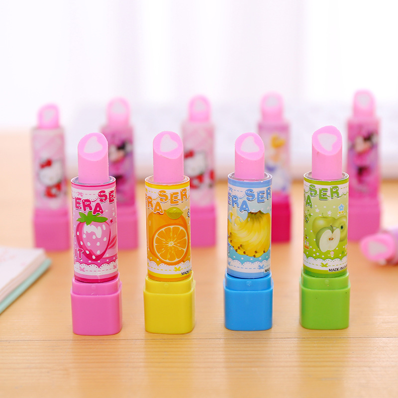 Lipstick Cat Erasers Cartoon Fruit Writing Drawing Rubber Pencil Eraser Cute Stationery For Kids Gifts School Supplies
