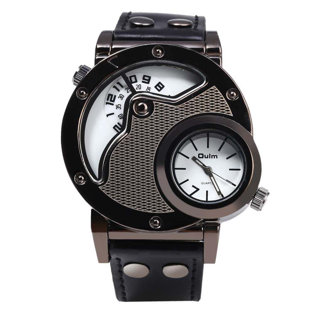 online buy whole cool wrist from cool wrist whole rs oulm men s quartz cool military wrist watch dual movt round shaped leather band