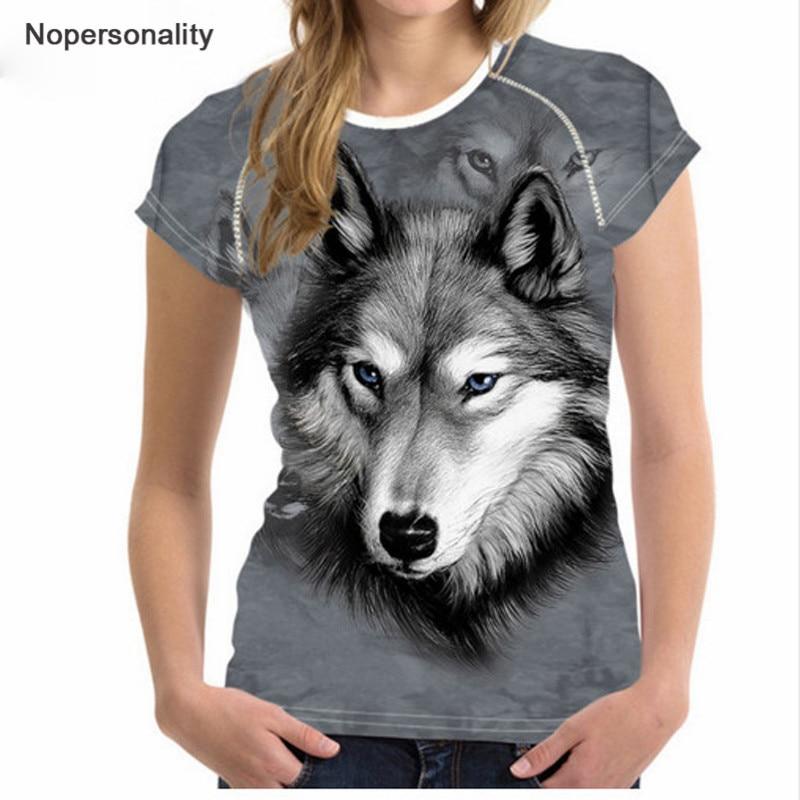 Nopersonality 3D Wolf Muster T-Shirt Damenmode T-Shirt Lustige Animal - Damenbekleidung - Foto 1