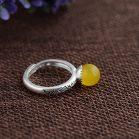 GZ 925 Sterling Silver Ring Natural Yellow Chalcedony Anillos Round S990 Thai Silver Rings For Women