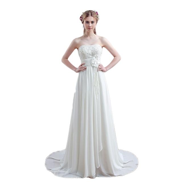 Robe De Princesse White Ivory Chiffon Gothic Wedding Gowns Beading ...