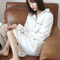 White nightgown elastic women 2019 spring and autumn fashion loose royal princess sleepwear pockets female teenager girl lounge