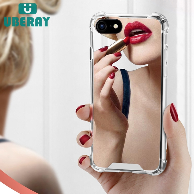 Luxury Mirror <font><b>case</b></font> For <font><b>iphone</b></font> XS Max XR Cover silicone soft TPU shockproof <font><b>case</b></font> for <font><b>iPhone</b></font> 6 <font><b>6s</b></font> 8 7 <font><b>plus</b></font> X coque women <font><b>makeup</b></font> image