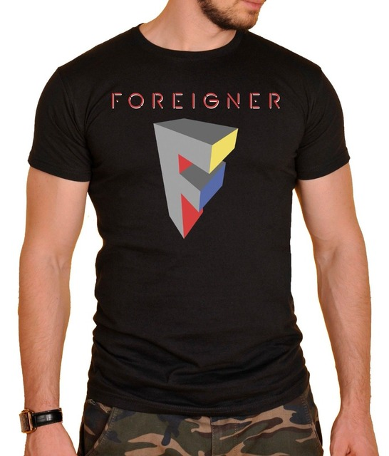 cc533805e3d8e2 2018 Streetwear Short Sleeve Tees Foreigner rock band T-shirt Logo Mens T-shirt  Black T-Shirt men t shirt Tops Tees
