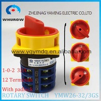 LW26 YMW26 32 3GS Rotary Switch 3 Postion Padlock 690V 32A 3 Pole 12 Terminal Selector
