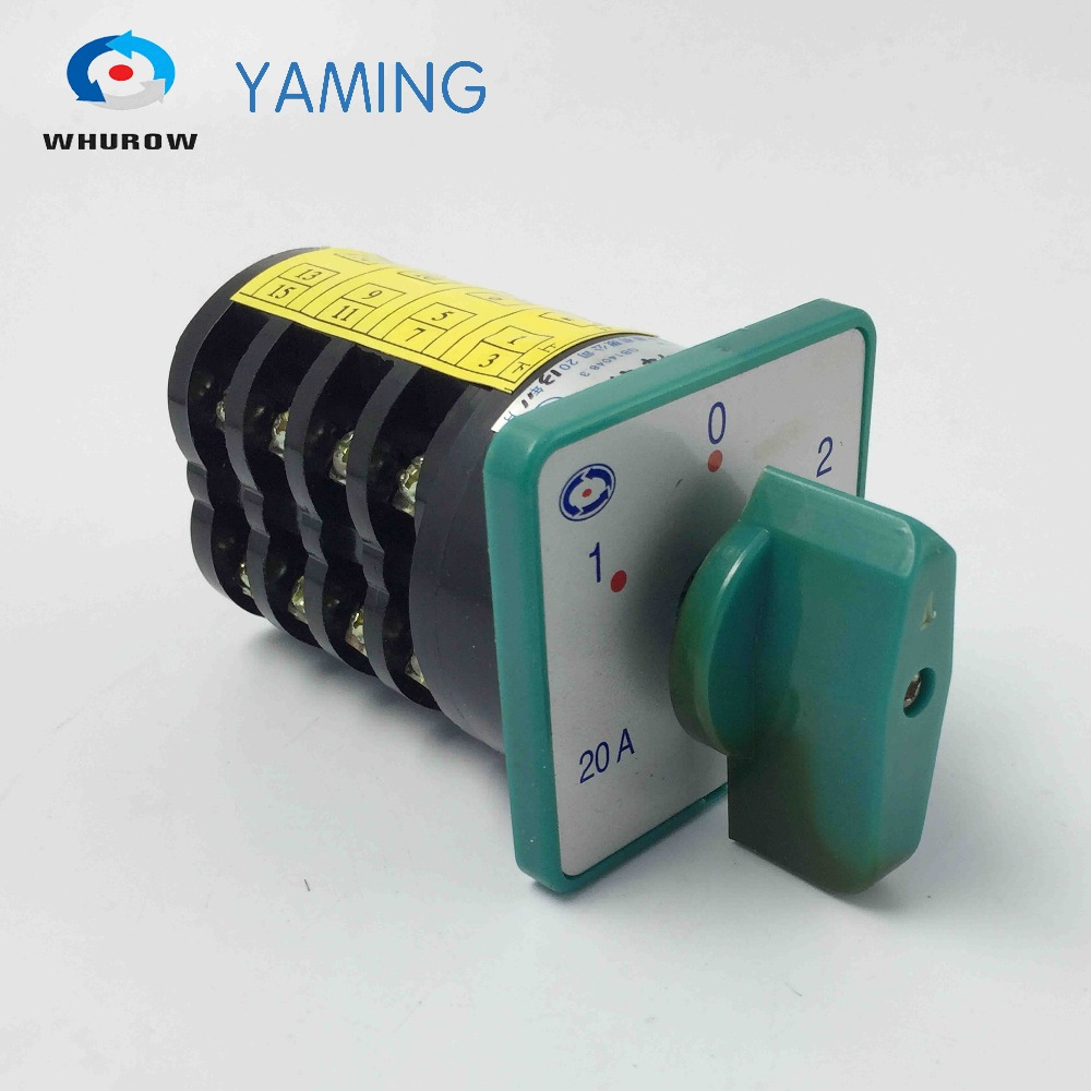 change over switch 3 position switch 20A 4 phase 4kw 380V rotary cam combination switch silver contact HZ5-20/4 ith 20a 8 screw terminals rotary combination cam switch