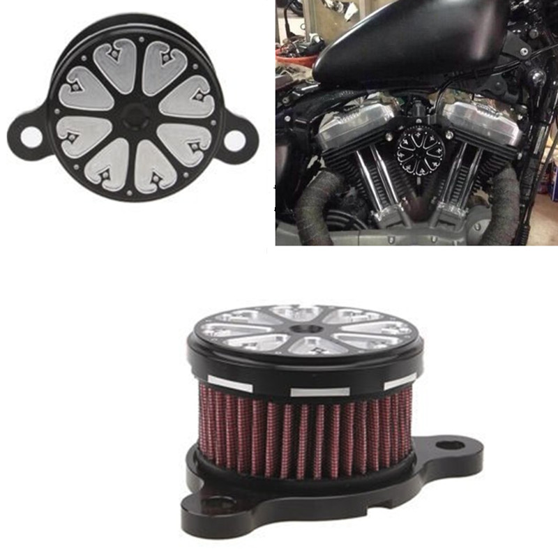 ФОТО Black/Silver Motorcycle CNC Rough Crafts Air Cleaner + Intake Filter System Fits For HD Harley Sportster 2004-2014 XL 883 1200
