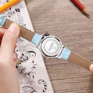 Image 3 - Dondurulmuş Elsa prenses kız Cuties kelebek ilmek izle öğrenci deri kuvars güzel kol saati Disney çocuk saati hediye kutusu