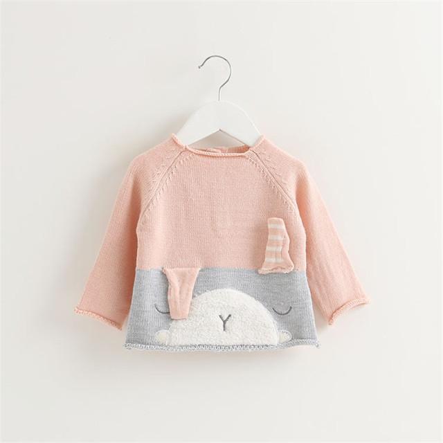 Boutique Do Bebê Blusas 2016 New Design quente Bebê Recém-nascido Meninos Meninas Blusas Animal Dos Desenhos Animados Coelho Crianças Inverno da Camisola Tops