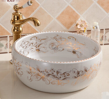 European Ceramic Art Bathroom Round table modern minimalist washbasin hand-washing basin pool