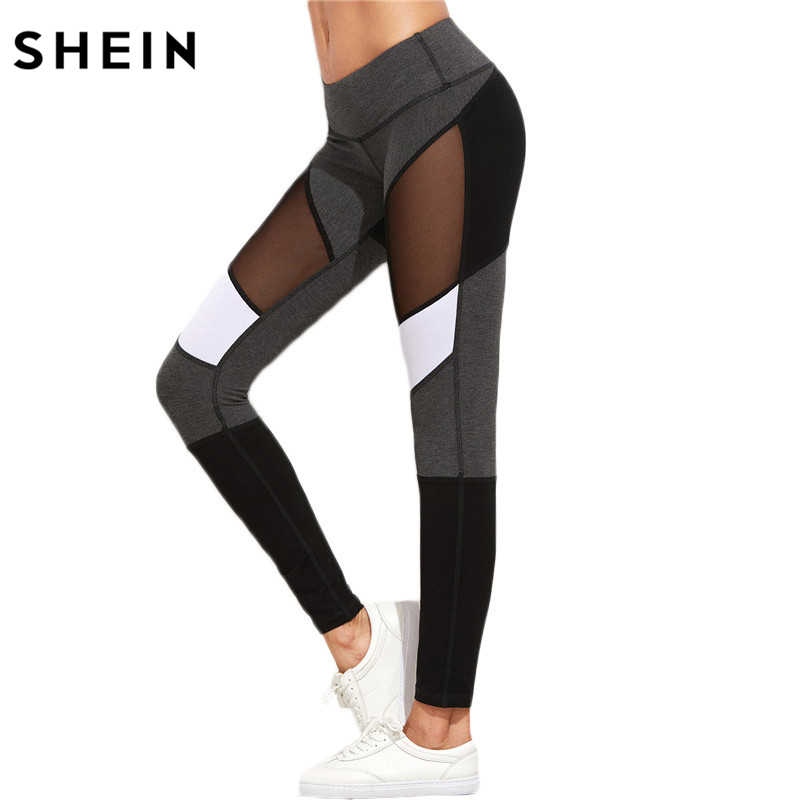f71bc7ee53d06f SHEIN Casual Leggings Women Fitness Leggings Color Block Autumn Winter Workout  Pants New Arrival Mesh Insert