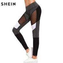 SHEIN Casual Leggings Women Fitness Leggings Color Block Autumn Winter Workout Pants New Arrival Mesh Insert Leggings