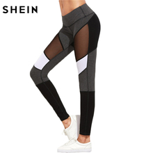 SHEIN Casual Leggings Women Fitness Leggings Color Block Autumn Winter Workout Pants New Arrival Mesh Insert Leggings(China)