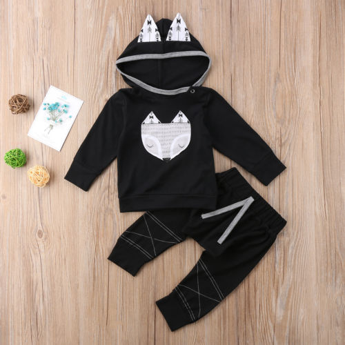 2PCS Kids Baby Toddler Boy Hoodies Long Sleeve Animal Clothes Set Tops Pants Leggings Outfits Cute Baby Clothing