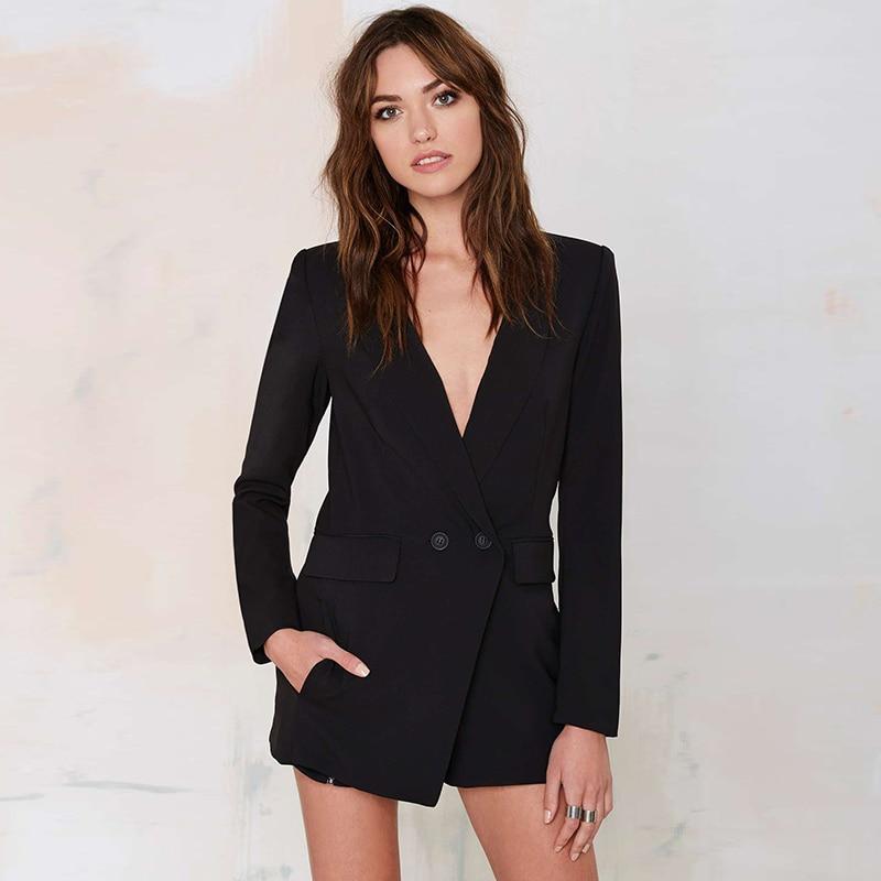 Brand Plus Size Woman Black Blazer Long Sleeve Deep V neck