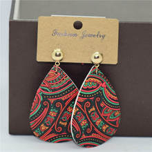 Fashion jewelry leather earrings ethnic style color drop earrings retro pu printing pendant earrings for women jewelry 2019 A801 недорого