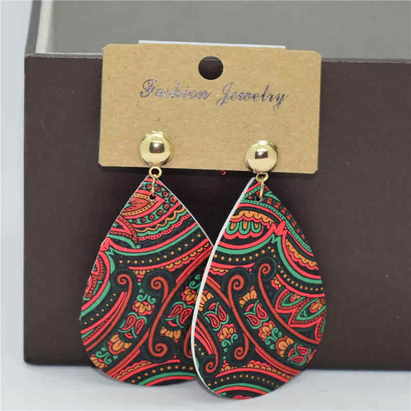 Moda biżuteria kolczyki skórzane w stylu etnicznym kolor spadek kolczyki retro pu drukowanie wisiorek kolczyki dla kobiet biżuteria 2019 A801